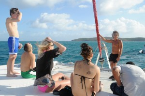 Karner's marine biology class on a 46-foot catamaran off the Gorda Sound in the Virgin Islands