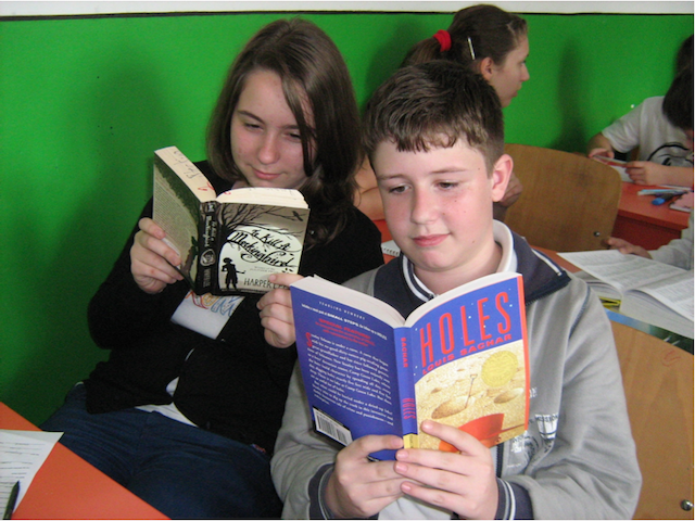 Romanian students received books from Glen Arbor's Cottage Book Shop. Photo by Kathleen Stocking